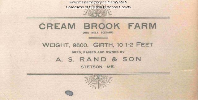 Cream Brook Farm Calling Card, Stetson, ca. 1907