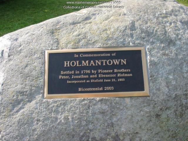Holmantown Memorial Plaque, Dixfield, 2003