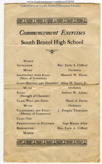 Commencement program, South Bristol High School, 1934
