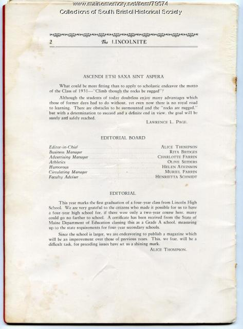Lincolnite yearbook editorial page, South Bristol, 1931