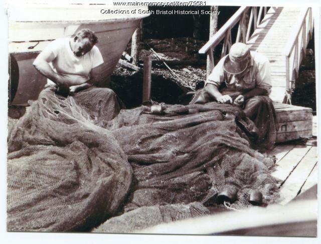Mending nets, South Bristol, ca. 1950