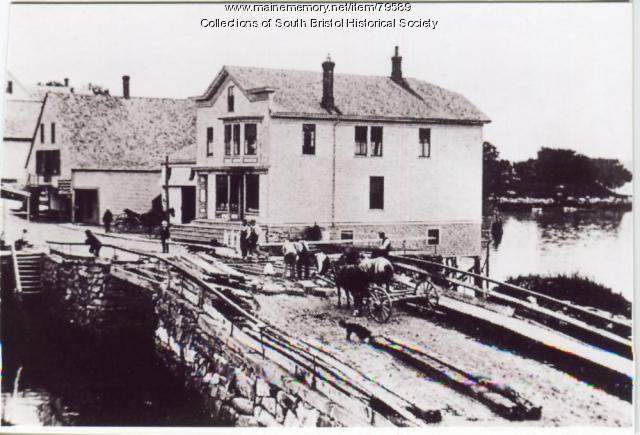 "An early bridge across ""The Gut"", South Bristol, ca. 1900"