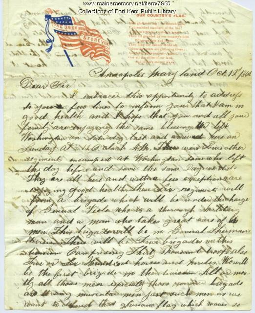 Maine Memory Network | Civil War soldier's letter home, Oct. 1861