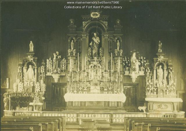 Interior of first St. Louis Church in Fort Kent