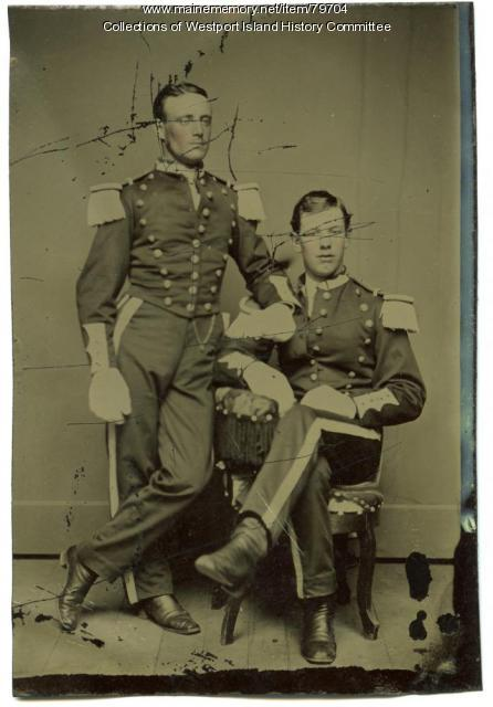 Militiamen in dress uniform, Westport Island, ca. 1875