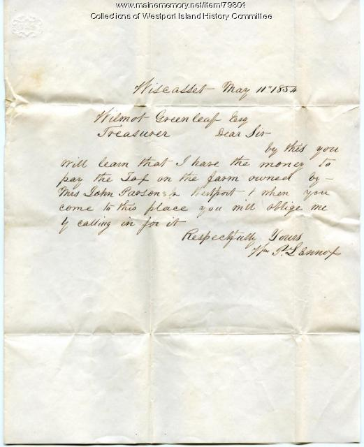 Business letter to Wilmot Greenleaf, Westport Treasurer, 1854