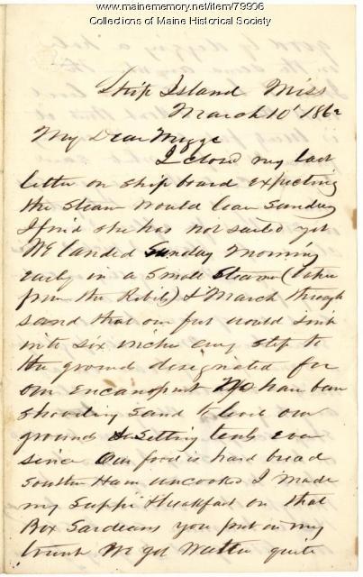 Capt. Charles Barnard letter from Ship Island, 1862
