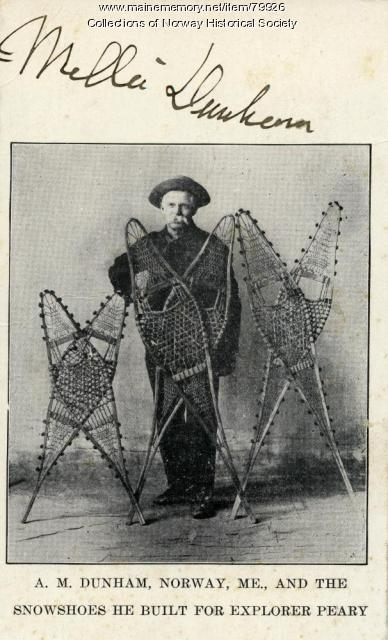 Dunham snowshoe advertising card, Norway, ca. 1907