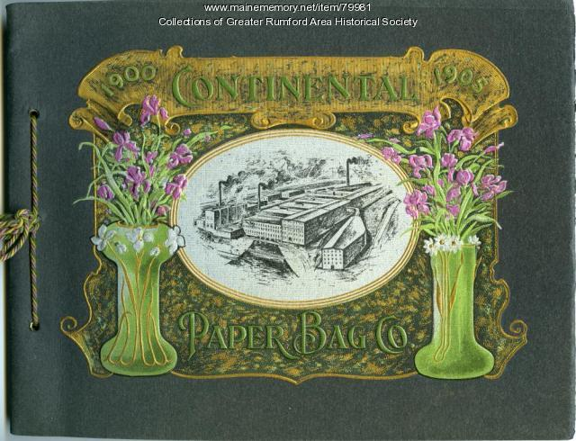 Continental Paper Bag Company anniversary booklet cover, Rumford Falls, 1905