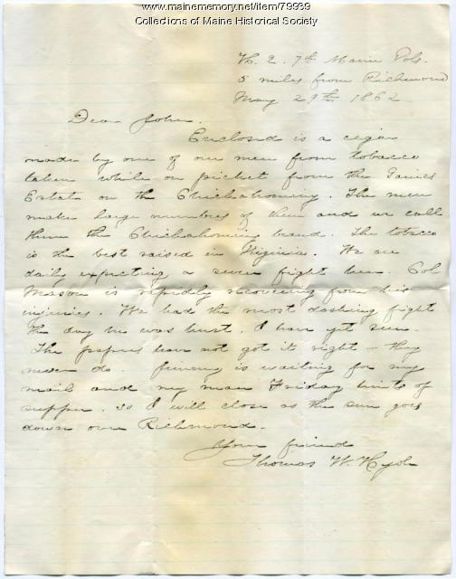 Thomas W. Hyde letter about cigar, Richmond, Va., 1862