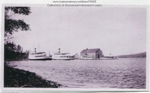 Steamers at Shipyard Point, Moosehead Lake