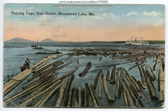 Sluicing Logs, Moosehead Lake, ca. 1915