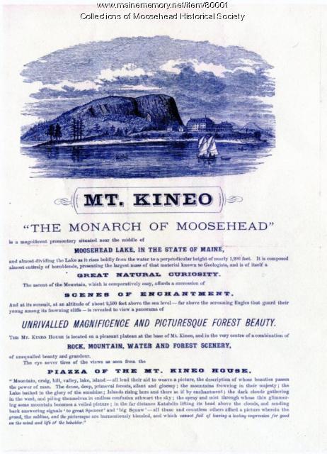 Mt. Kineo Hotel brochure, Moosehead Lake, 1875