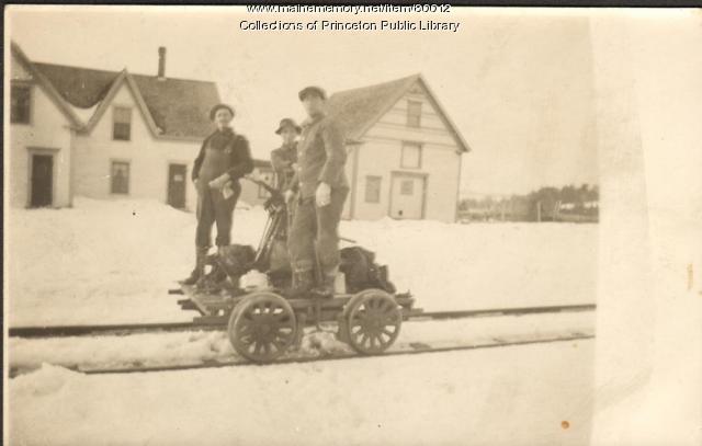 Men on Railroad Hand Car, Princeton, ca. 1900
