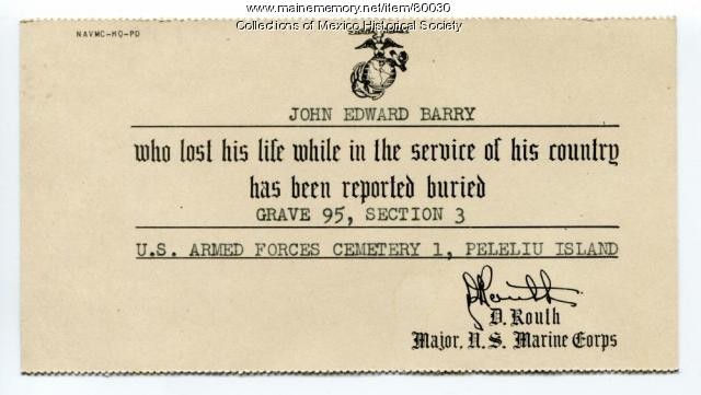 Notice of death and burial for John Edward Barry, 1945
