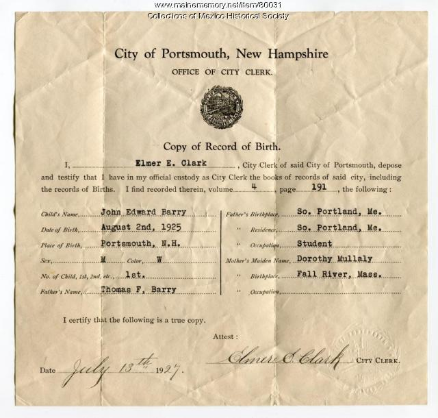 Birth record for John Edward Barry, Portsmouth New Hampshire, 1925