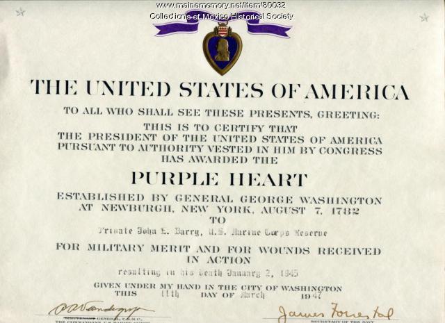 Purple Heart citation for John Edward Barry, 1947
