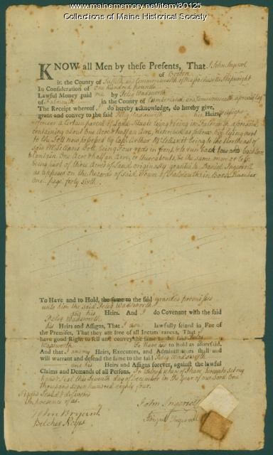 John Ingersoll deed to Peleg Wadsworth, Portland, 1784