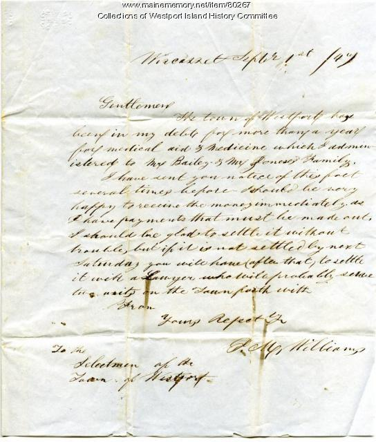 Letter to Westport Selectmen from Wiscasset medical provider, 1847