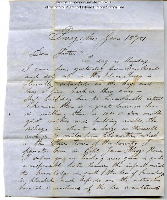 Letter to Sarah Tarbox from brother Valentine, Surry, 1851