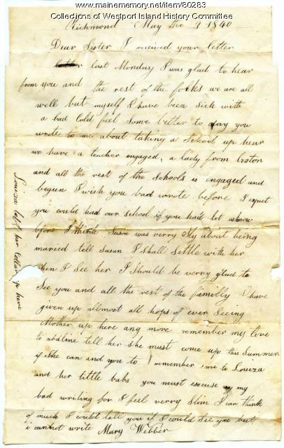 Letter to Sarah Tarbox from sister Mary Webber, 1840