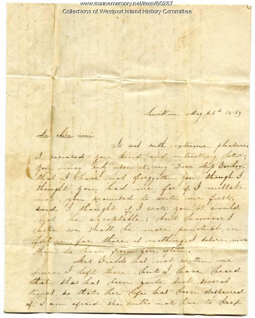 Letter to Sarah Tarbox from a former boarding school classmate, 1839