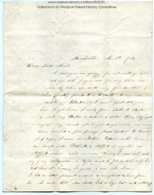 Letter to Sarah Tarbox Greenleaf from her sister-in-law, Lavinia, 1852