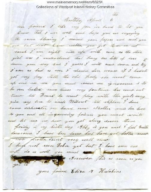 Letter to Sarah Tarbox from Eliza Hutchings, Boothbay, circa 1852