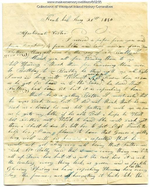 Letter to Sarah Tarbox from brother Valentine, 1840