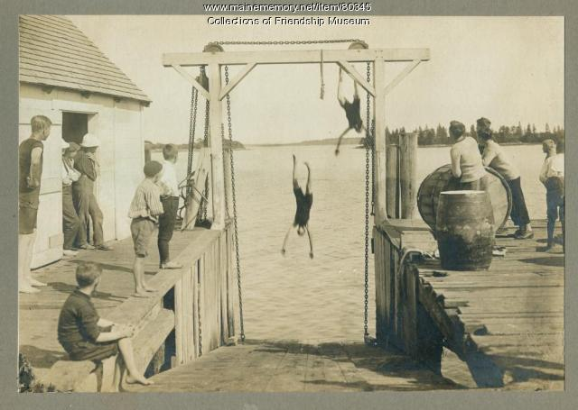 Swimming at the steamboat slip, Friendship, ca. 1910
