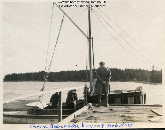 Sherman Jameson buying lobsters, Friendship, ca. 1910