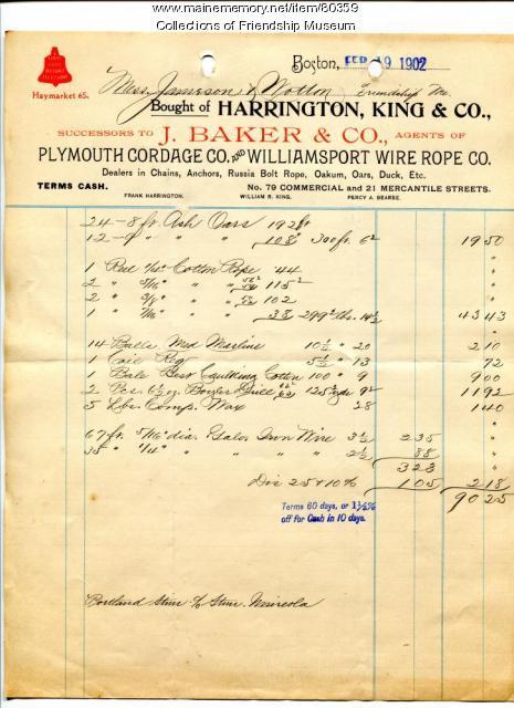 Invoice for fishermen's gear, 1902