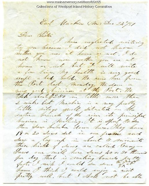 Letter to Sarah Tarbox from brother Valentine, East Machias, 1851