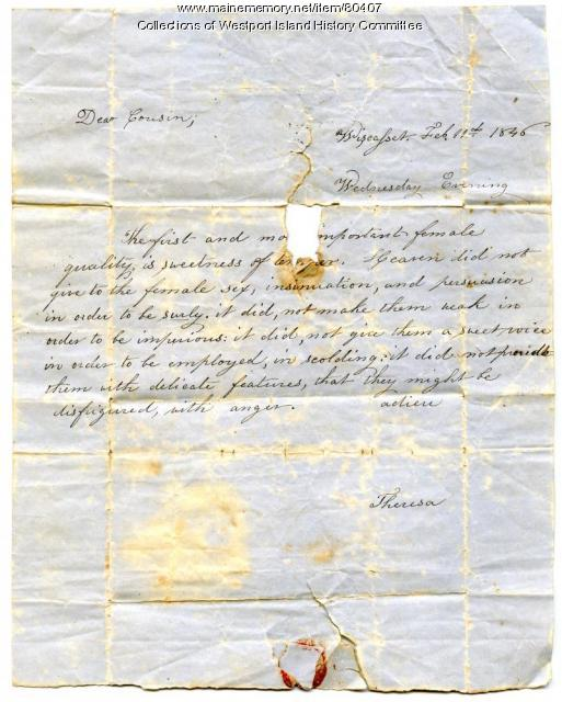 "A cousin's ""letter of counseling"" to Sarah Tarbox, 1846"