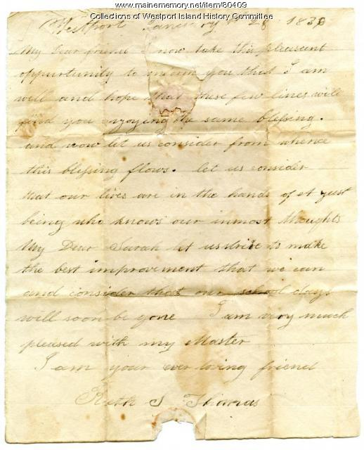 Letter to Sarah Tarbox from schoolmate Ruth Thomas, 1836