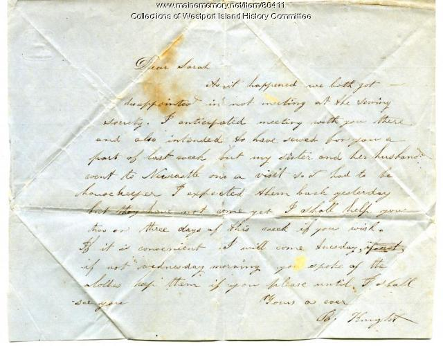 Letter to Sarah Tarbox from B. Knight, ca. 1845