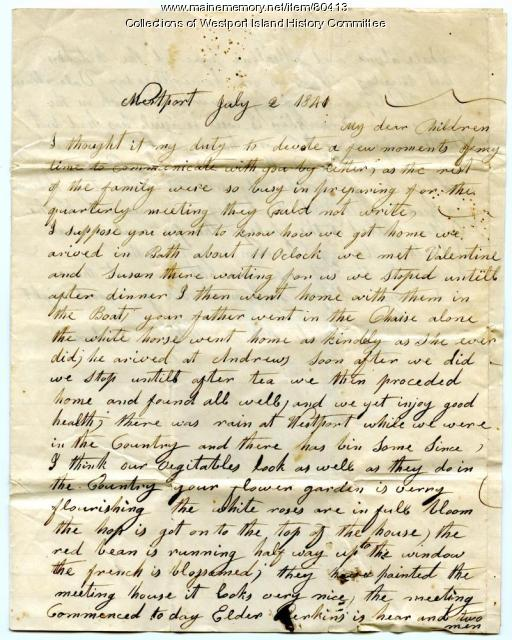 Letter to Sarah Tarbox from her mother, 1841