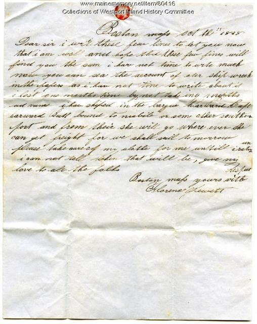 Letter to Wilmot Greenleaf from Florence Jewett, 1848