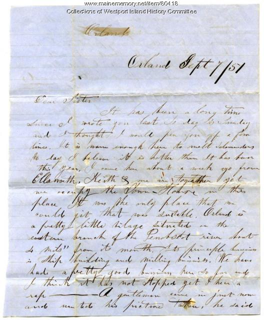 Letter to Sarah Tarbox from brother Valentine, Orland, 1851