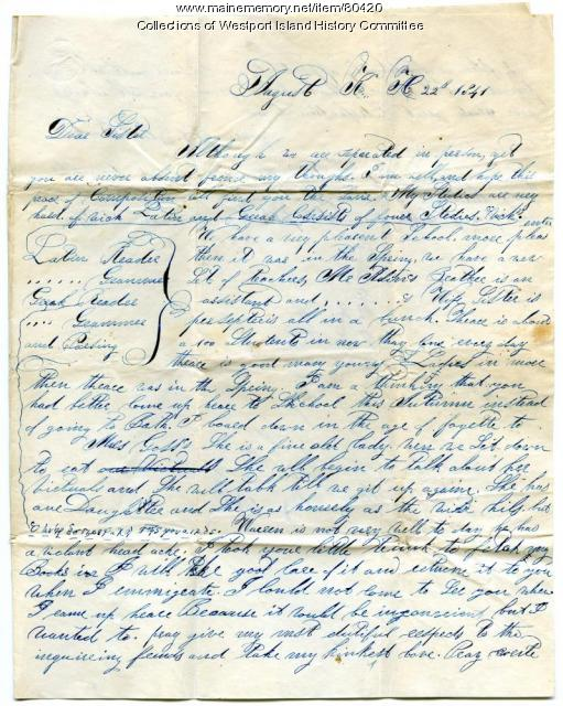 Letter to Sarah Tarbox from brother Valentine, 1841