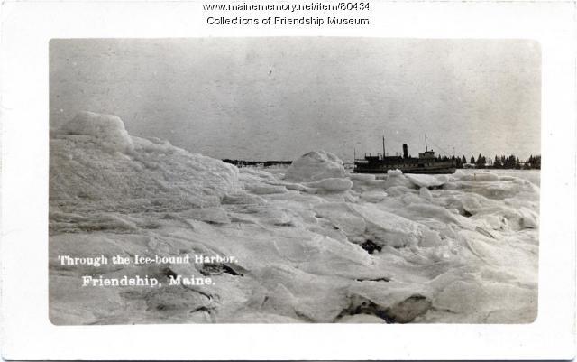 Through the ice-bound harbor, 1913