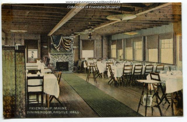 Argyle Hall dining room, ca. 1910