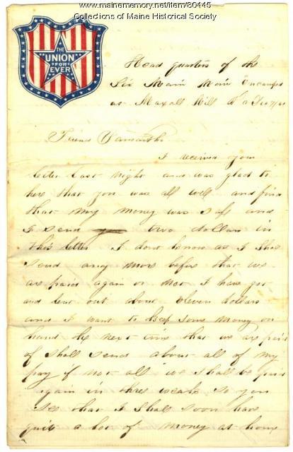 Pvt. John E. Stewart letter on army life, Maxall Hill, VA, 1861