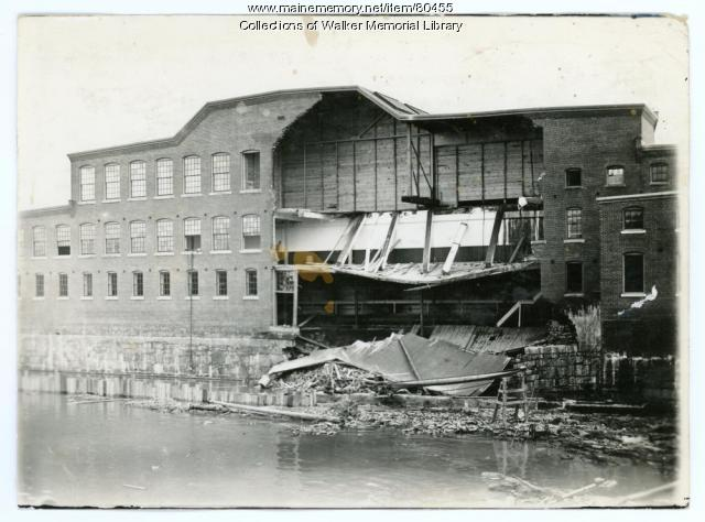 S.D. Warren Mill, Flood damage, Westbrook, 1896