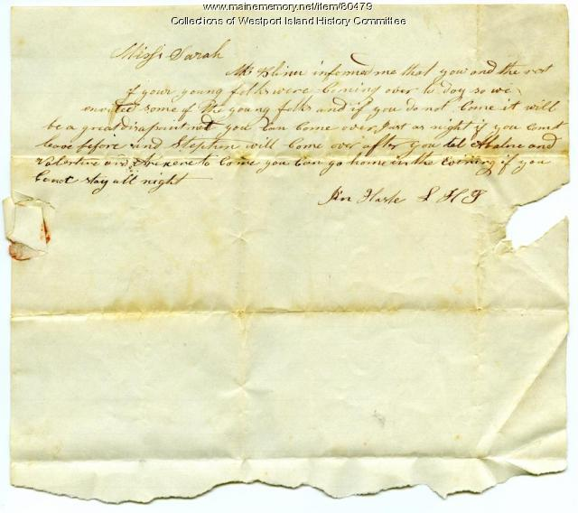 Letter to Sarah Tarbox from Jim Harle, ca. 1845
