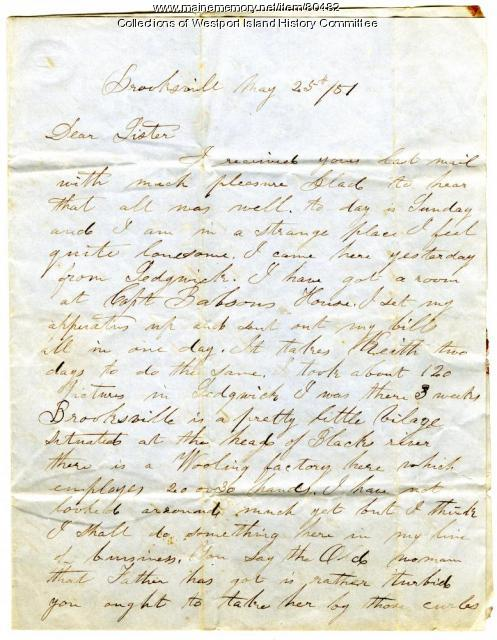 Letter to Sarah Tarbox from brother Valentine, Brooksville, 1851