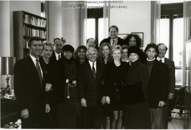 Sen. William S. Cohen with visitors, Washington, D.C., ca. 1995