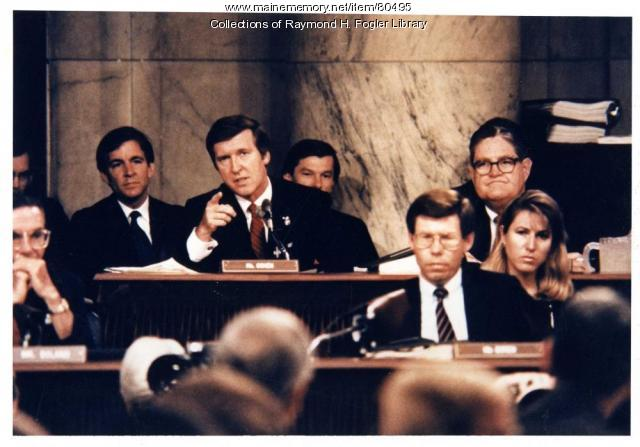 Sen. William S. Cohen at hearing, Washington, D.C., 1987