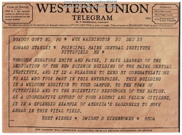 Telegram From President Eisenhower, Pittsfield, 1958