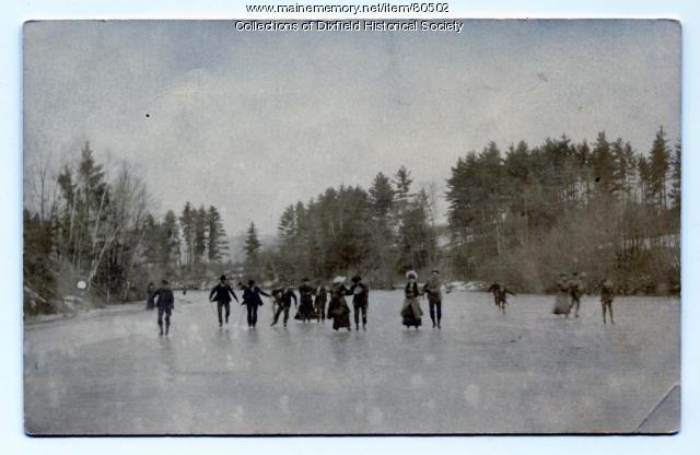 Ice Skating on Webb River, Dixfield, ca. 1900